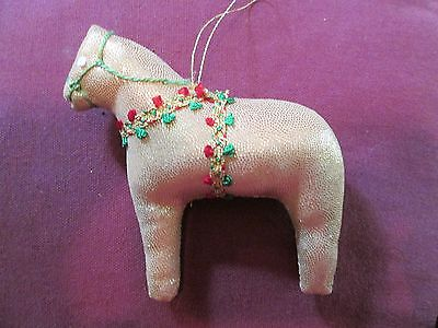 Dala Horse ornament Gold Lame  scandinavian swedish handcrafted