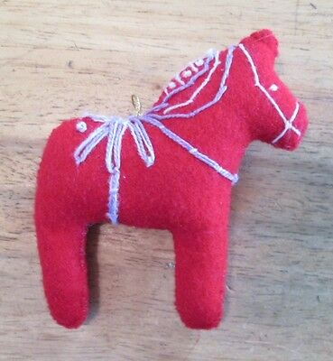 Dala Horse ornament Red felt purple embroidery Scandinavian swedish handcrafted