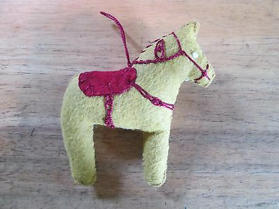 Dala Horse ornament Mustard wool flt embroidery Scandinavian swedish handcrafted
