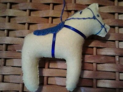 Dala Horse ornament   Yellow w/blue embroidery Scandinavian swedish handcrafted