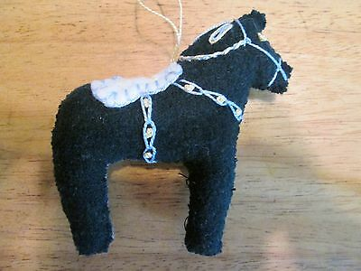 Dala Horse ornament Dark Green Wool felted Scandinavian Swedish handcrafted