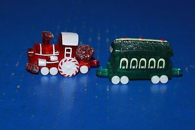 Hallmark Merry Miniatures Christmas Candy Train Engine With Car NOS