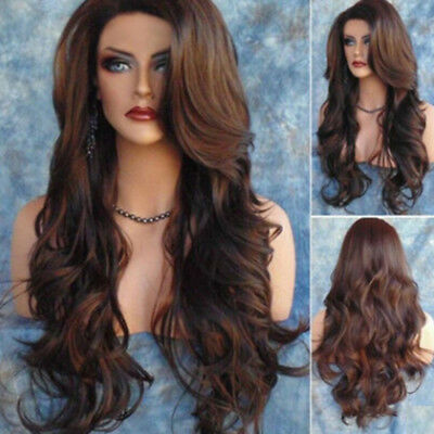 Fashion Women Long Hair Full Wig Curly Wavy Straight Brown Cosplay Hair Wigs