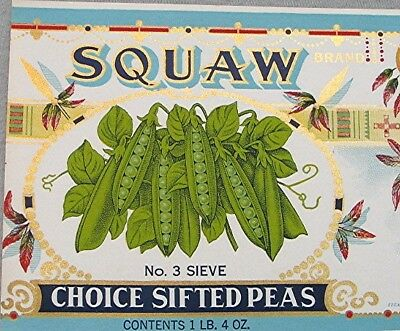 Vintage Vegetable Can Label -- Squaw Sifted Peas --  New Old Stock