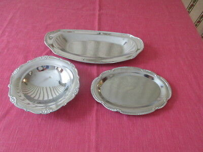 Silver Plated Bread Tray w/Etched Design, Serving Tray and Bowl