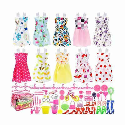 JANYUN Total 66pcs - 10 Pack Clothes Party Gown Outfits for Dressing up Barbi...