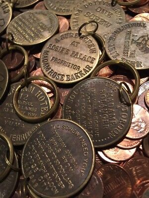 Brothel Token Lot - 4 Tokens SOLID METAL Brass Finish Hotrod Hells Angels