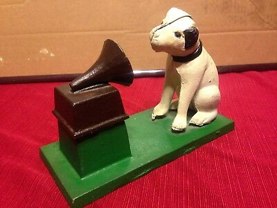 Vintage Cast Iron RCA Dog Nipper With Phonograph Door Stop 4 Pounds
