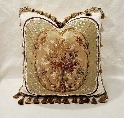 SOLD OUT Pillow French Antique Floral Tapestry, Fringe Tassels, Custom Made