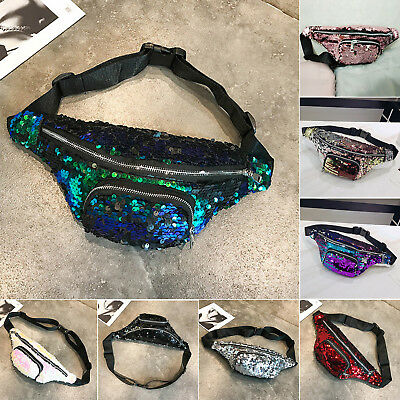 Bum Bag Fanny Shiny Pack Festival Sequins Wallet Travel Holiday Waist Belt Pouch