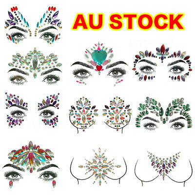 Adhesive Face Gems Rhinestone Jewels Party Festival Body Glitter Stickers Tattoo