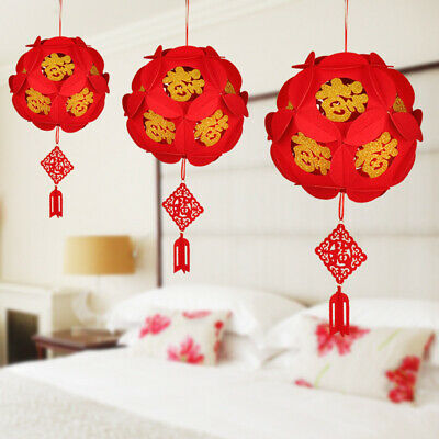 2Pcs DIY Non-woven Chinese New Year Lantern Red Spring Festival Party Home Decor