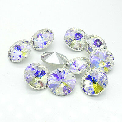 White Color AB XILION ELEMENTS Crystal glass Rivoli loose Beads 12mm14mm16mm18mm