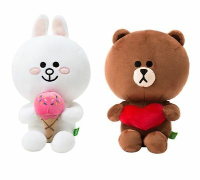 """LINE FRIENDS Character Plush Doll Toy SITTING HEART BROWN Bear 25cm 9.8/"""""""