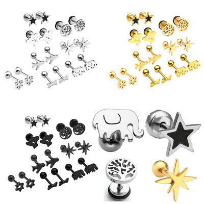 16pcs Stainless Steel Star Heart Ear Studs Tragus Helix Cartilage Lobe Piercing