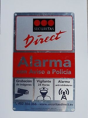 3 X Cartel / Placa disuasoria Securitas Direct mediana ORIGINAL