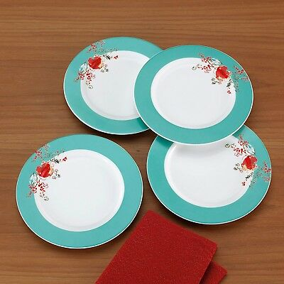 Lenox Simply Fine Chirp 4-Piece Dessert Plate Set Bone China, NEW