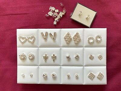 JOBLOT-12 pairs of different styles diamante stud earrings.Silver plated.UK made