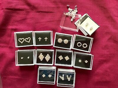JOBLOT-10 pairs of different styles diamante stud earrings.Gift boxed.UK made.