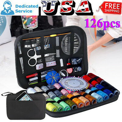 90/126/134X Portable Home Sewing Kit Case Needle Thread Tape Scissor Button Hand