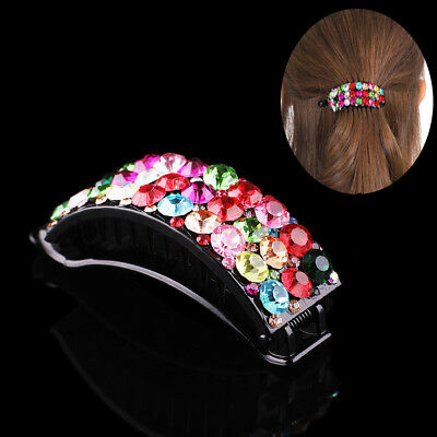 Fashion Women Girls Crystal Hair Clips Pins Barrette Rhinestone Hairpin Grip