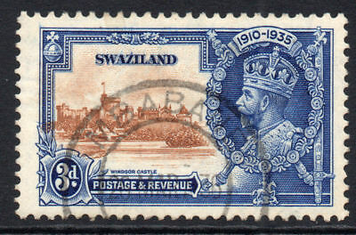 Swaziland 3d Silver Jubilee Stamp c1935 Used (1197)