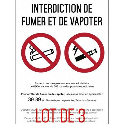 Interdiction interdit de fumer et vapoter - Autocollant vinyl waterproof - L.14