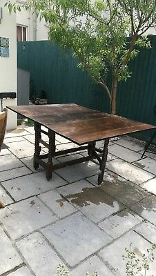 Victorian antique barley twist gate leg table with drop leaf sides in excellent