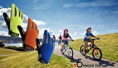 Kids Junior Cycling Gloves Full Finger Mountain Bicycle Racing Boy Girl 3 Colors