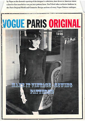 Vintage 60's VOGUE PARIS ORIGINAL 1326 JEAN PATOU DRESS Sewing Pattern B36