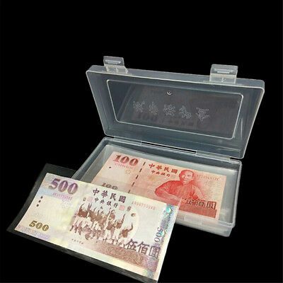 100Pcs Paper Money Album Currency Banknote Case Storage Collection With Box ^F