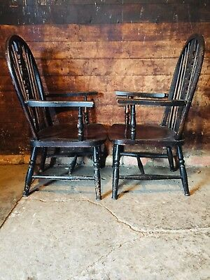Pair Of Antique Victorian Ebonised Low Carver Fireside Armchairs Ash And Elm