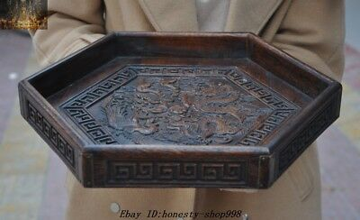 """14"""" Old Chinese Huanghuali Wood Hand-Carved Dragon Phoenix Lucky Plate dish tray"""