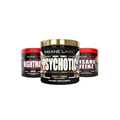 Insane Labz Psychotic Gold + Nightmare + Insane Veinz Training Stack
