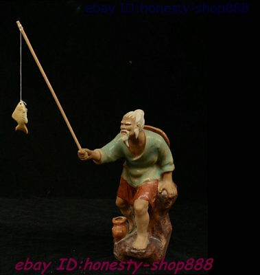 Old Chinese Porcelain Fisherman Fisher Peterman Sea Humter Pendant Statue 7 inch