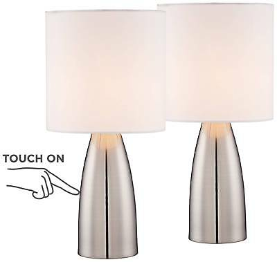 MODERN TABLE LAMPS Set of 2 Touch Switch Silver White for Living Room  Bedroom