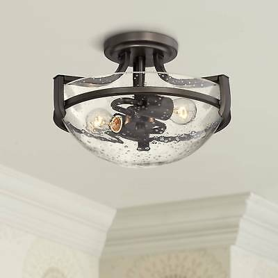 "Ceiling Light Semi Flush Mount Fixture Bronze Seedy Glass 13"" Bedroom Kitchen"