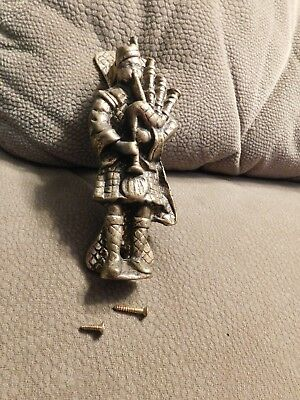 Antique Vintage Brass Gold Colored Door Knocker Scottish Bagpipes Piper
