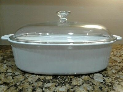 Corning Ware French White Oval Roaster Casserole Dish w/ Clear Pyrex Lid - 4 L