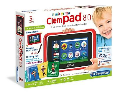 """Clementoni Il Mio Primo Clempad 8.0 Touch 7"""" Wifi Bt Android +3 Anni New"""