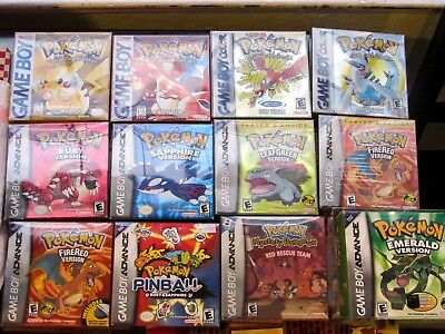 HUGE Pokemon Video Game Collection! Pokemon Red, Yellow, Fire Red, Emerald, Ruby