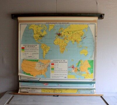 6 Vintage School Wall Maps WWII PACIFIC EUROPE ASIA Nystrom 1955 Pull Down Multi