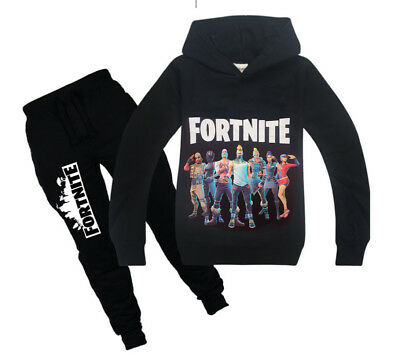 Fashion Kids Boys Fortnite Long Sleeve Shirt Tops+Pants A Suits 6-14 Years zc%