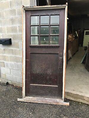 MAR 275 antique oak beveled glass entrance door with jam 36 x 80 Frame is larger