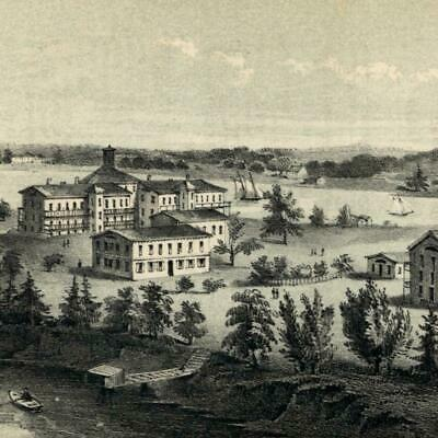 Blackwell's Island Alms House bldg. 1853 New York city view lithographed print