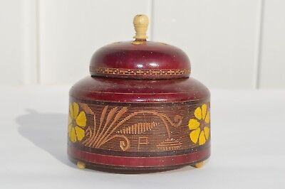 Primitive/Antique Small Hand Painted, Carved Wooden Sewing/Trinket Box Folk Art