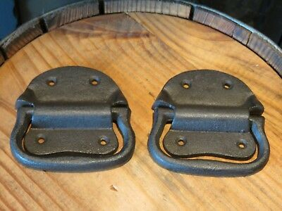 "Lot of 2 Simple Vintage Style Cast Iron Trunk Handles, 4"" Wide, hardware, rustic"
