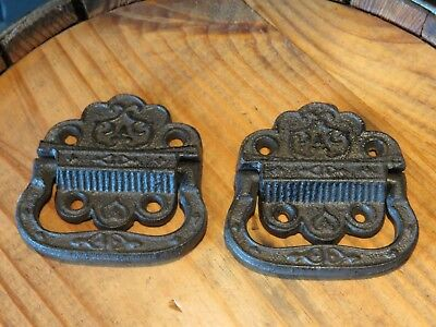 "Lot of 2 Eastlake Vintage Style Cast Iron Trunk Handles, 3.25"" Wide, hardware"