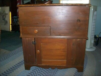 """Antique? Commode w/ Lift Top (29"""" L, 16"""" W, 30"""" H) (VG) Repro? Upstate New York"""