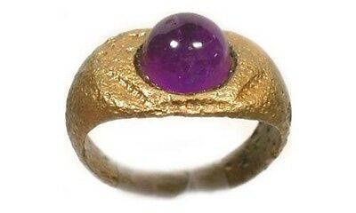 AD300 Roman Anatolia (Turkey) Bronze Ring Sz6 + 18thC Antique 2¾ct Amethyst Gem